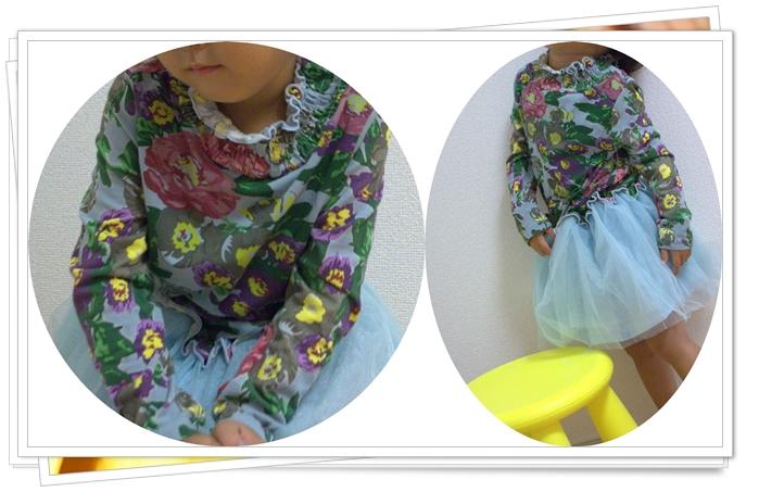 韓国子供服 花柄 長袖 ワンピース