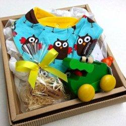 出産祝いギフト詰合せオーガニックコットンスタイ木のおもちゃ