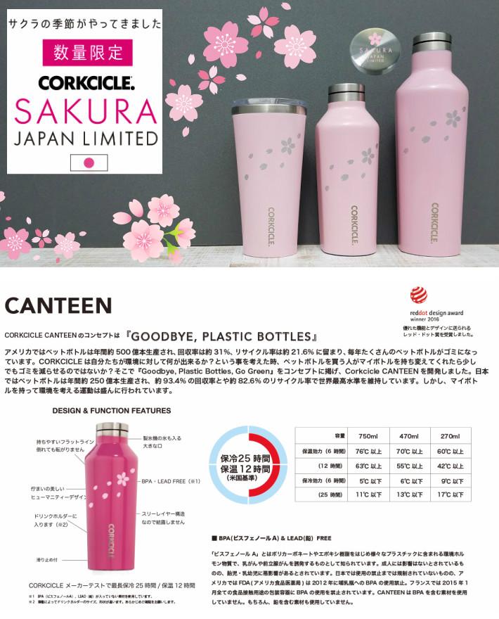 コークシクルキャンティーン濃いピンクのサクラボトル説明